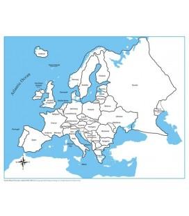Obrysová mapa Európy (s popiskami)