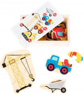 Puzzle v krabičke, stavebné stroje