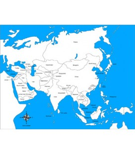 Obrysová mapa Ázie (s popiskami)
