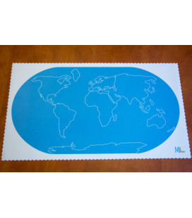 Podložka mapa sveta s kontúrami svetadielov