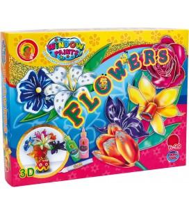 Kvety, kreatívny set s farbami na sklo