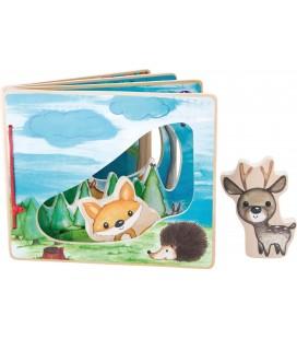 Drevená knižka Zvieratká v lese