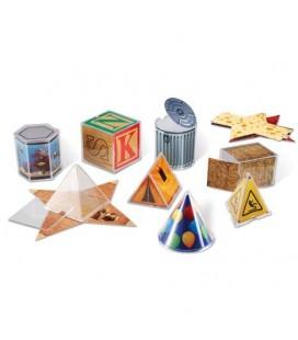 Geometrické telesá s obrázkami predmetov