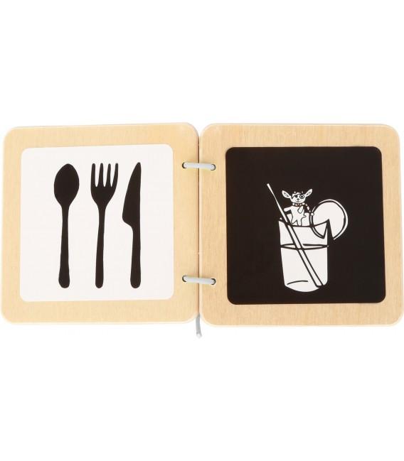 Drevená čiernobiela knižka pre bábätká