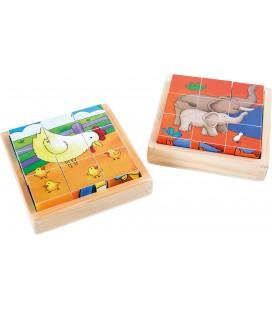 Obrázkové kocky - farma a ZOO (2 sady)