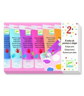 Prstové farby v tube (6 ks, pastelové)