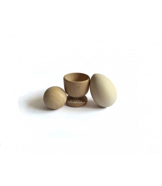Stojan na vajíčko, vajíčko a gulička