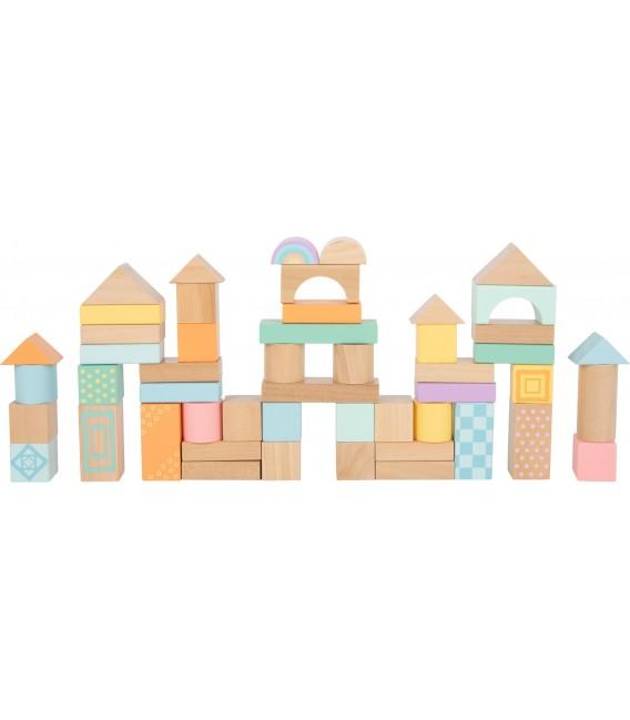 Stavebnicové kocky, pastelové
