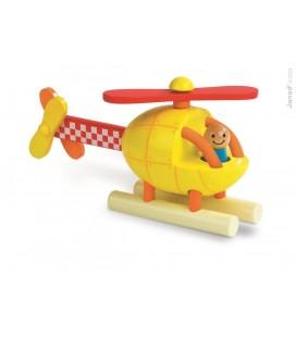 Helikoptéra, drevená magnetická skladačka