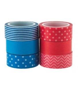 Washi pásky 6ks (modrá, červená)