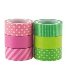 Washi pásky 6ks (ružová, zelená)