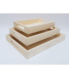 Sada 3 drevených podnosov