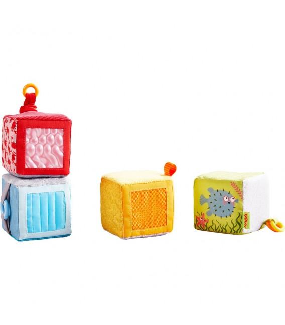 Textilné hmatové kocky s aktivitami 4ks
