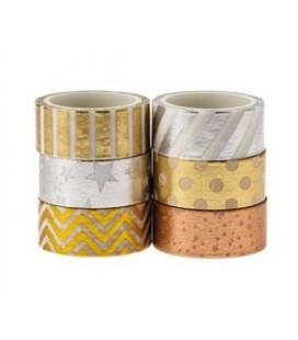 Washi pásky 6ks (zlatá, strieborná)