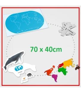 Podložka mapa sveta s kontúrami, filcovými svetadielmi a zvieratami