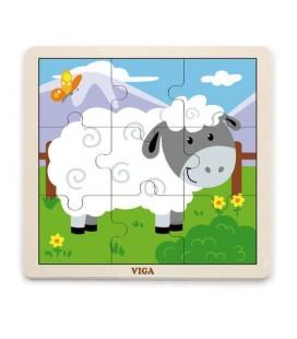 Drevené puzzle Ovečka (9 dielov)