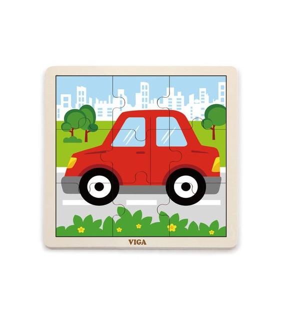 Drevené puzzle Auto (9 dielov)