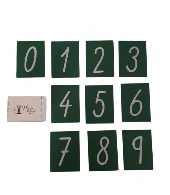 Šmirgľové čísla v krabičke, písané písmo
