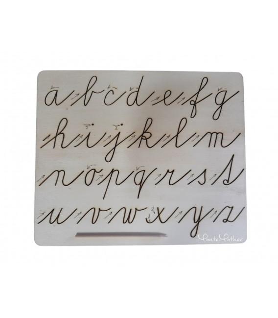 Grafomotorická tabuľka na obťahovanie písmen - malá písaná abeceda