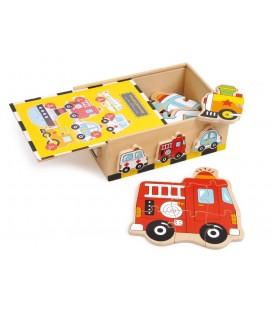 Puzzle v krabičke - dopravné prostriedky