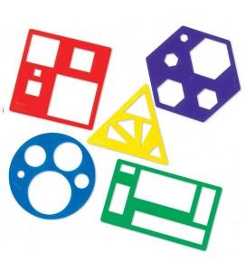 Šablóny základné tvary, farebné (5ks)