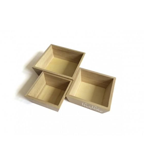 Štvorcové drevené misky - set 3 kusov
